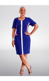 RAMIN- Short Sleeve Contrast Trim Dress