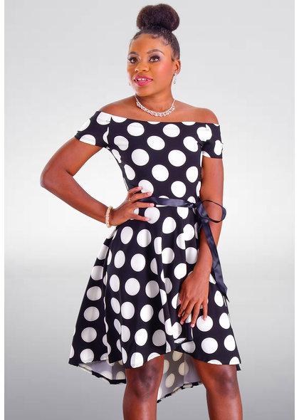 UGANA- Petite Polka Dot Hi-Lo Off Shoulder Dress