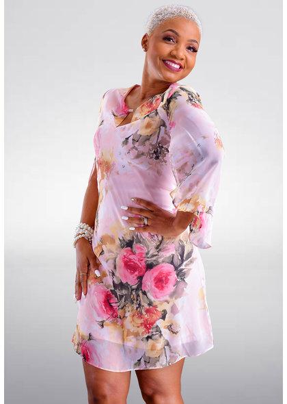 FRODIA- Three Quarter Sleeve Floral Print Dress