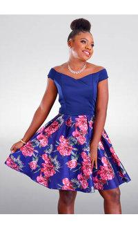 DUUL.CE TAMAR- Petite Solid Top Floral Bottom Dress