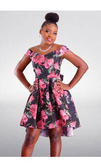 TIFFANY- Petite Printed Hi-Lo Dress