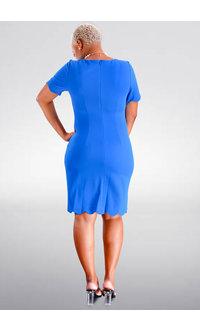 GLAMOUR RESMI- Scalloped Edge Sheath Dress