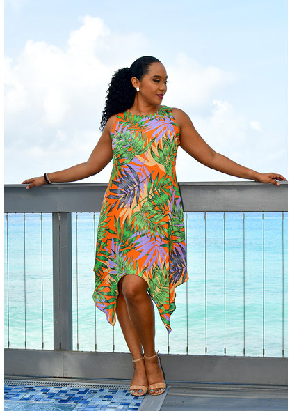 GLAMOUR RALANA- Armhole Leaf Print Dress