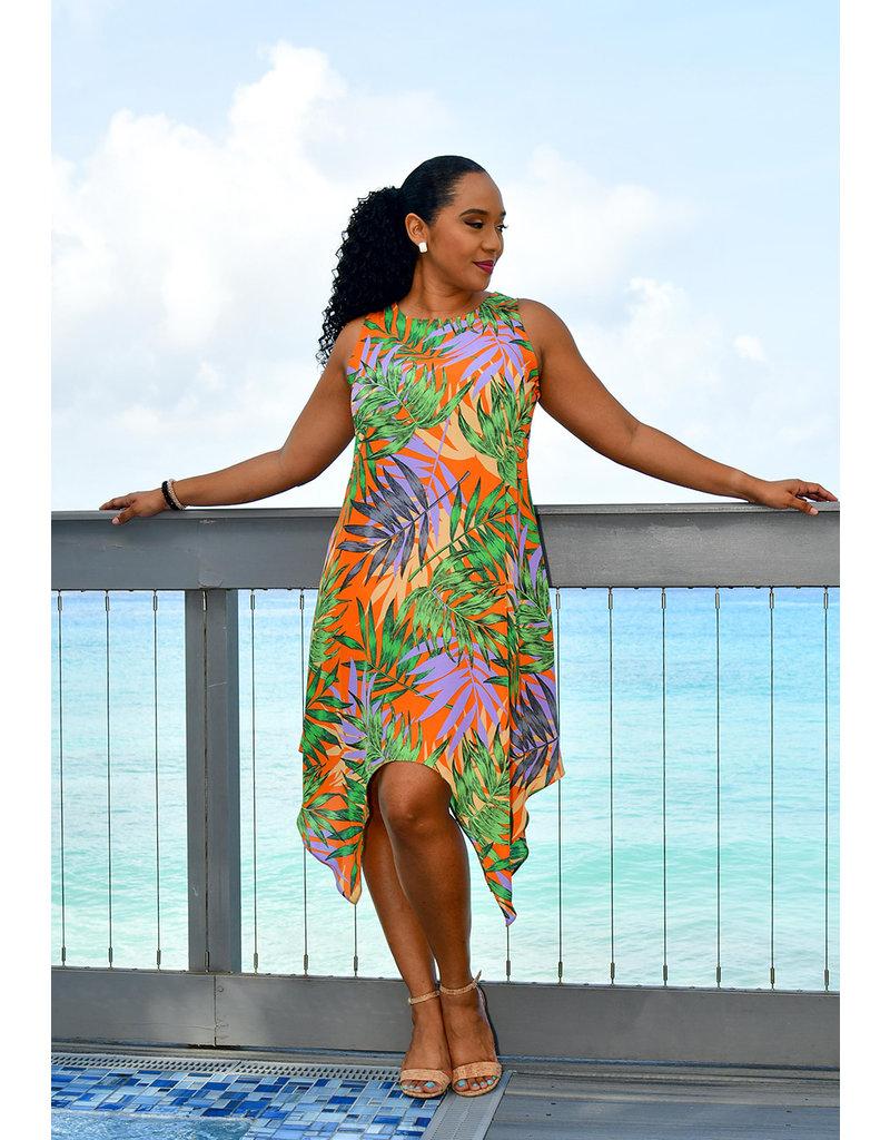 GLAMOUR RALANA- Armhole Leaf Print Dress