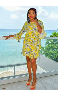 NY COLLECTION YANINA- Printed 3/4 Bell Sleeve Dress