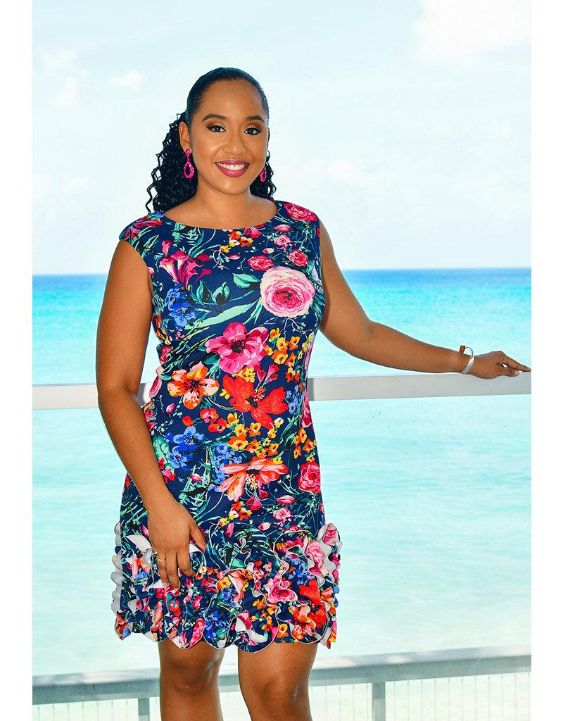 UDARCI- Printed Dress with Ruffle Hemline
