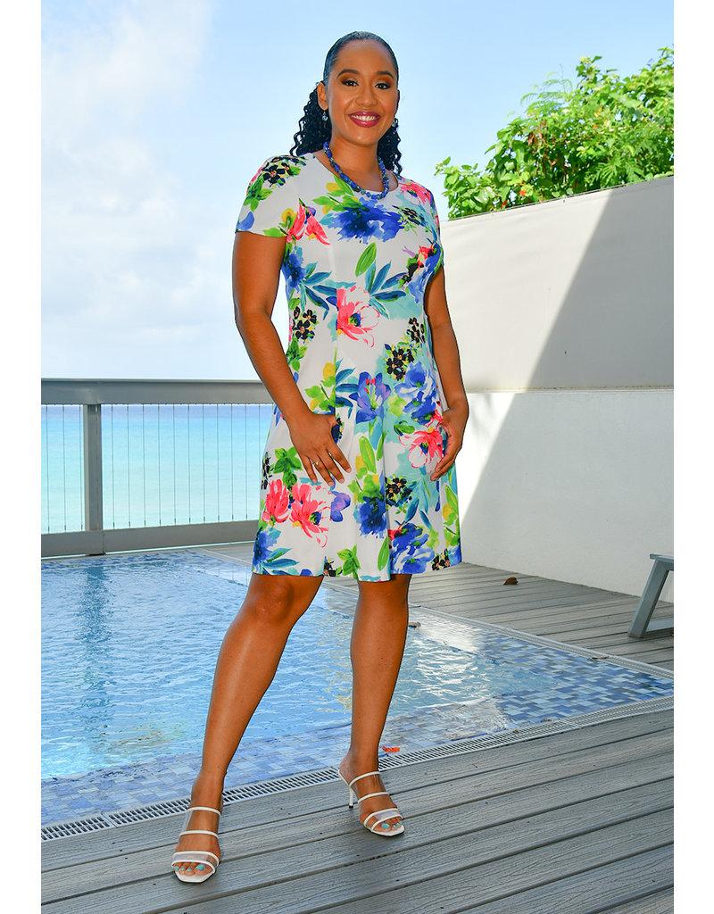 UBEANA- Printed Fit & Flare Short Sleeve Dress