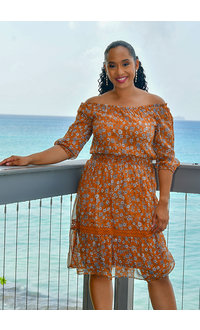 NY COLLECTION FLIMA-Printed Dress with Crochet Accents