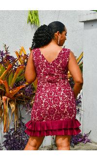 LIDA- 2 Tone Lace Dress with Scuba Pleats