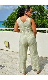 LAPIS & LILLIES KESANDA- V-Neck Striped Jumpsuit