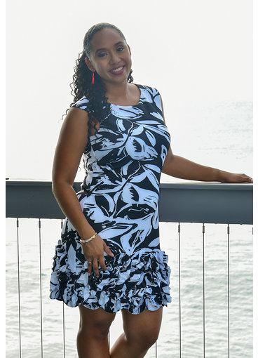 UDARCI- Printed Dress with Textured Hemline
