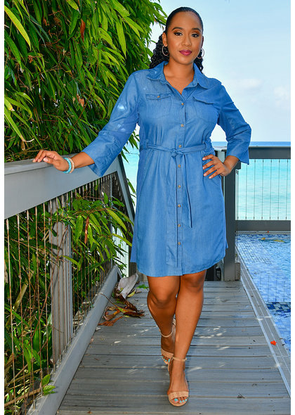NY COLLECTION KEANNA- Jeans Shirt Dress
