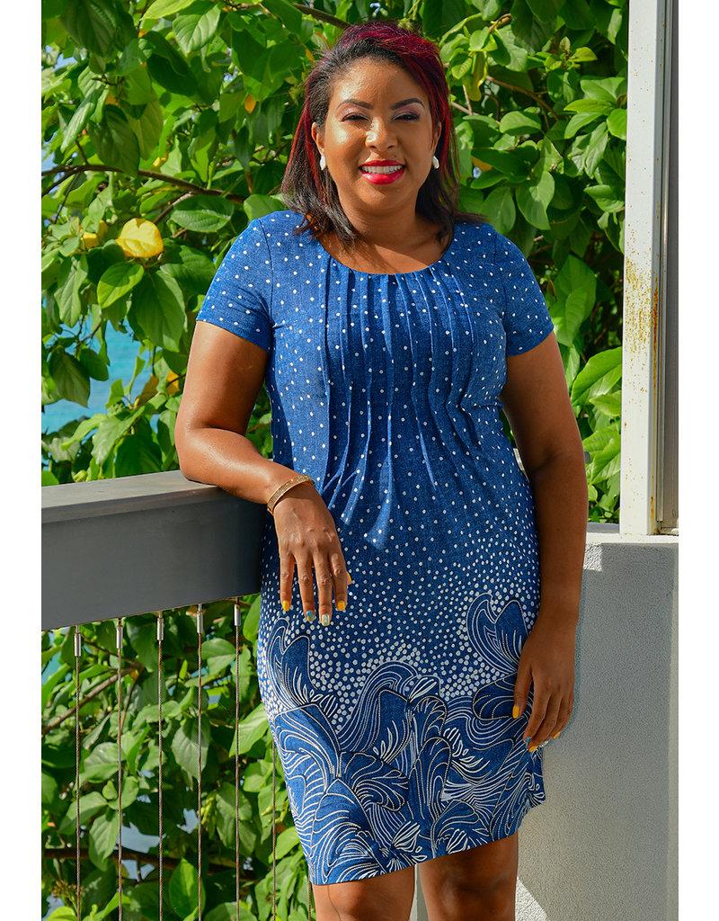 IMANE- Printed Short Sleeve Dress