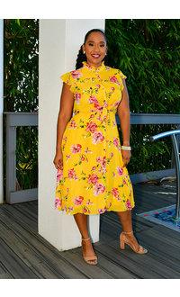 Julia Jordan FANITO- Floral Print Button Front Dress