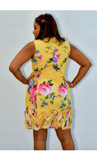 UDANIA- Printed Dress with Textured Hemline