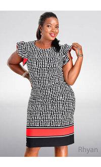 RHYAN- Printed Contrast Dress with Ruffle Sleeves