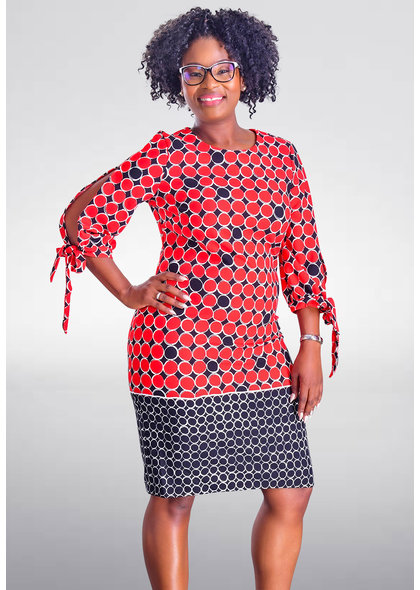 RIDA- Printed Three Quarter split Sleeve Dress