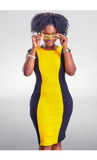 REMANI- Contrast Colour Block Dress