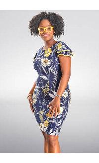 IVEE- Printed Ruffle Sleeve Dress