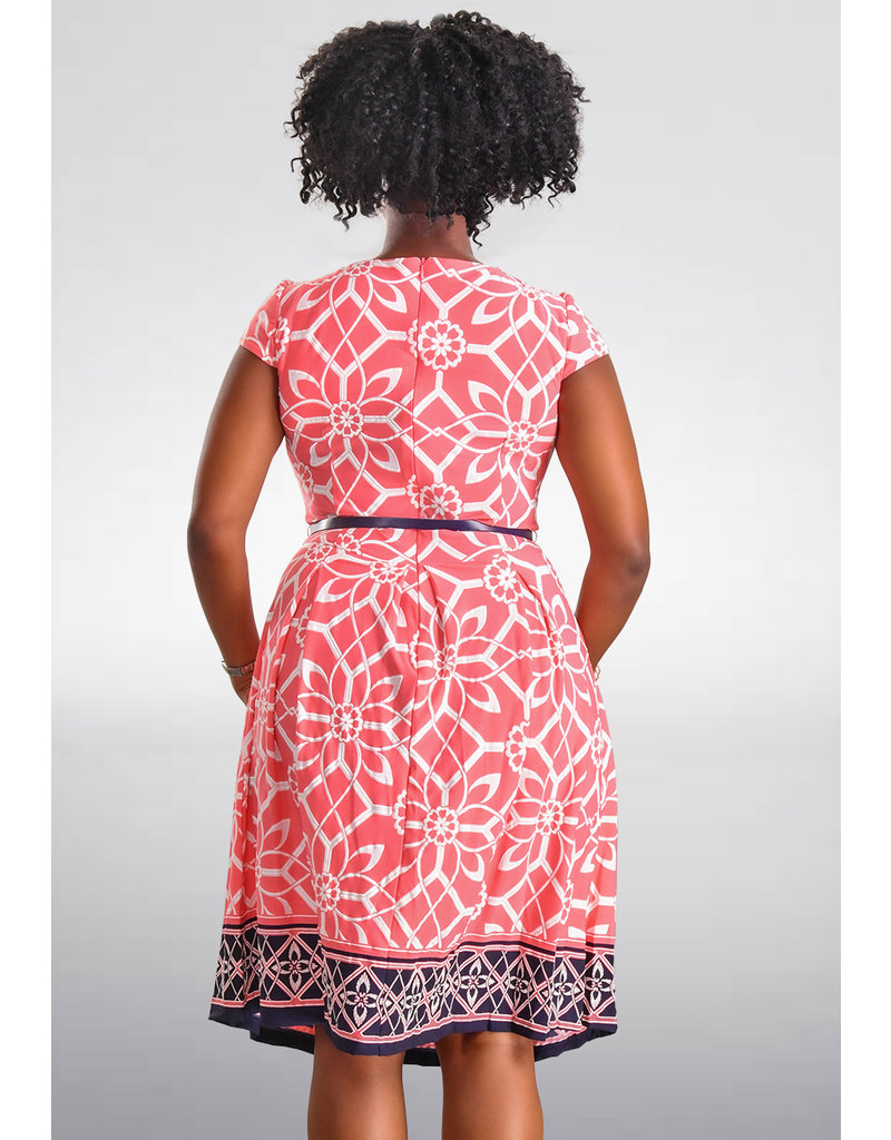 YAMILET- Puff Print Fit and Flare Dress