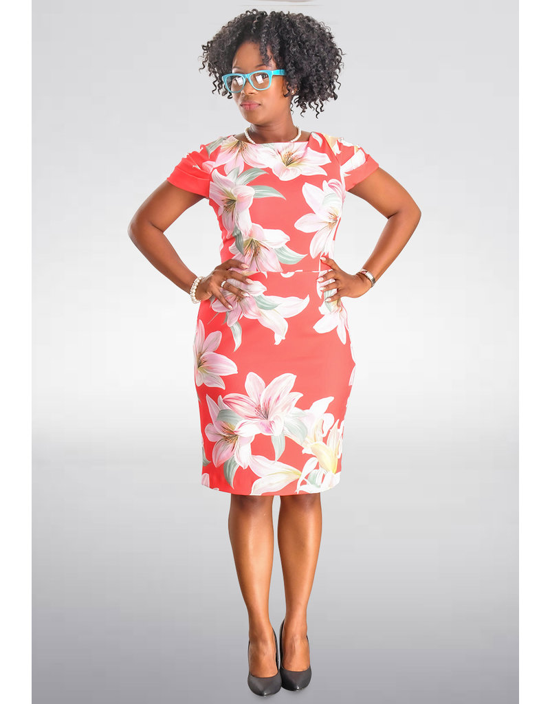 Shelby & Palmer RHED-Floral Print Cap Sleeve Dress