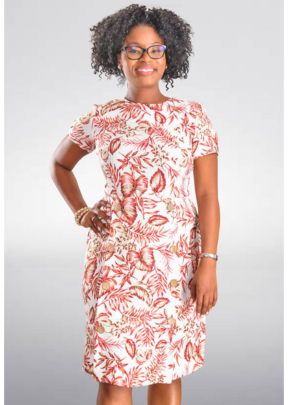 Shelby & Palmer NIKIRA-Leaf Print Dress with Wood Buttons