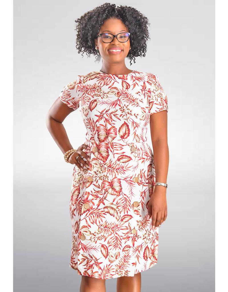 Shelby & Palmer NIKIRA-Leaf Print Dress with Wood Buttons