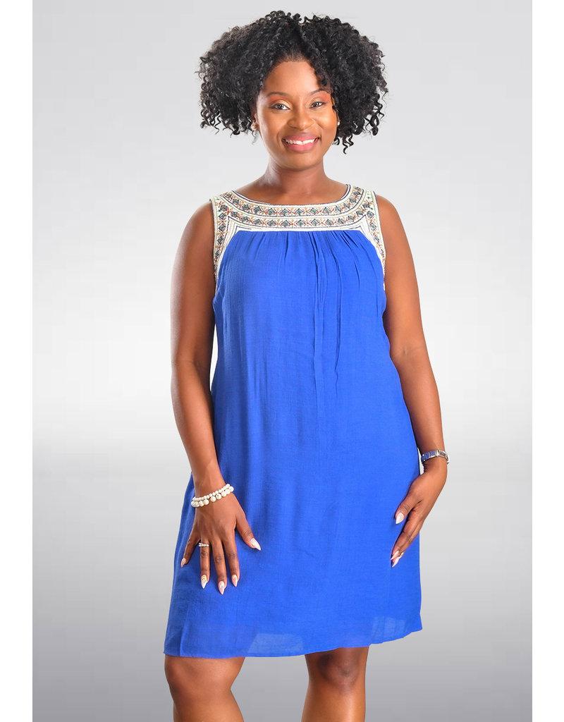 KEANDRA- Embroidered Shift Dress