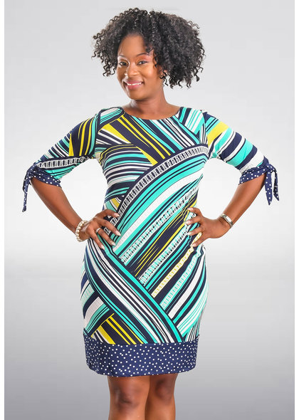 INAYAH- Puff Print Dress with Knot Sleeve