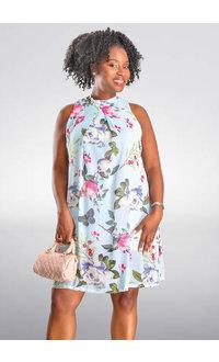 SEVEN ISLANDS FARENA- Floral Hi-Neck Dress with Tie Back