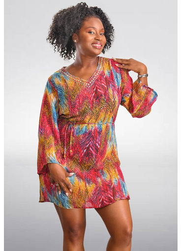SEVEN ISLANDS DONNA- Multi Print Long Sleeve Cover Up