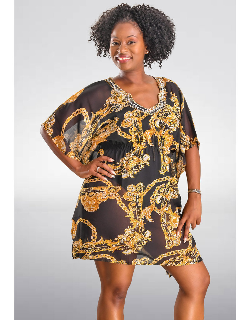 SEVEN ISLANDS DENNY- Abstract Print Short Sleeve Cover Up