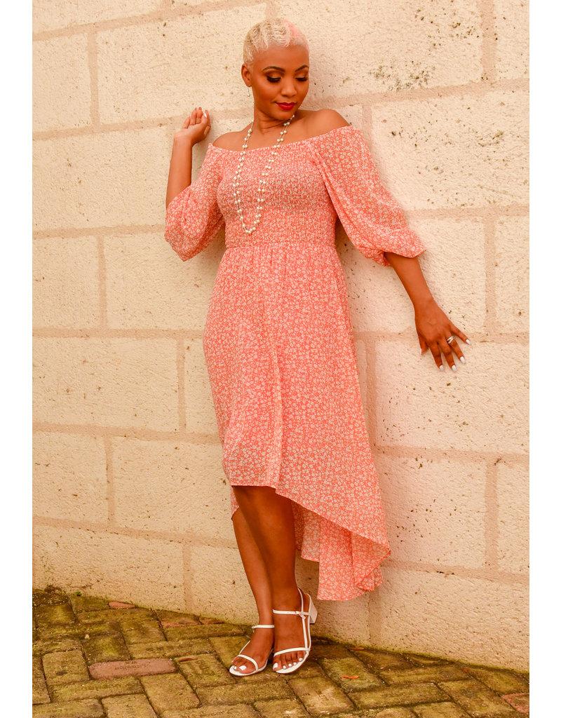 FAMLA- Floral Hi-Lo Dress with Elastic Top