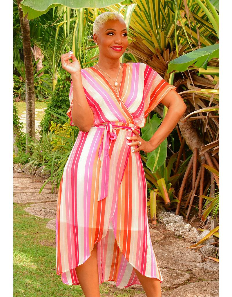 FARRIS- Striped Faux Wrap Chiffon Dress