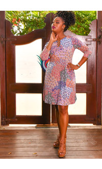 MSK ISLY- Three Quarter Sleeve Dress with Rings