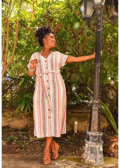 KATHYANN- Linen Button Down Dress