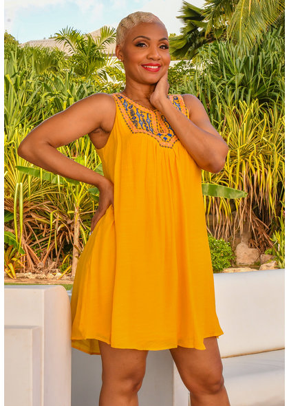 KHAL- Embroidered Dress with Split at Neck