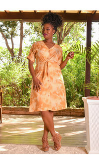 KIMARSA- Tie-Dye Cuff Sleeve Dress with Pockets