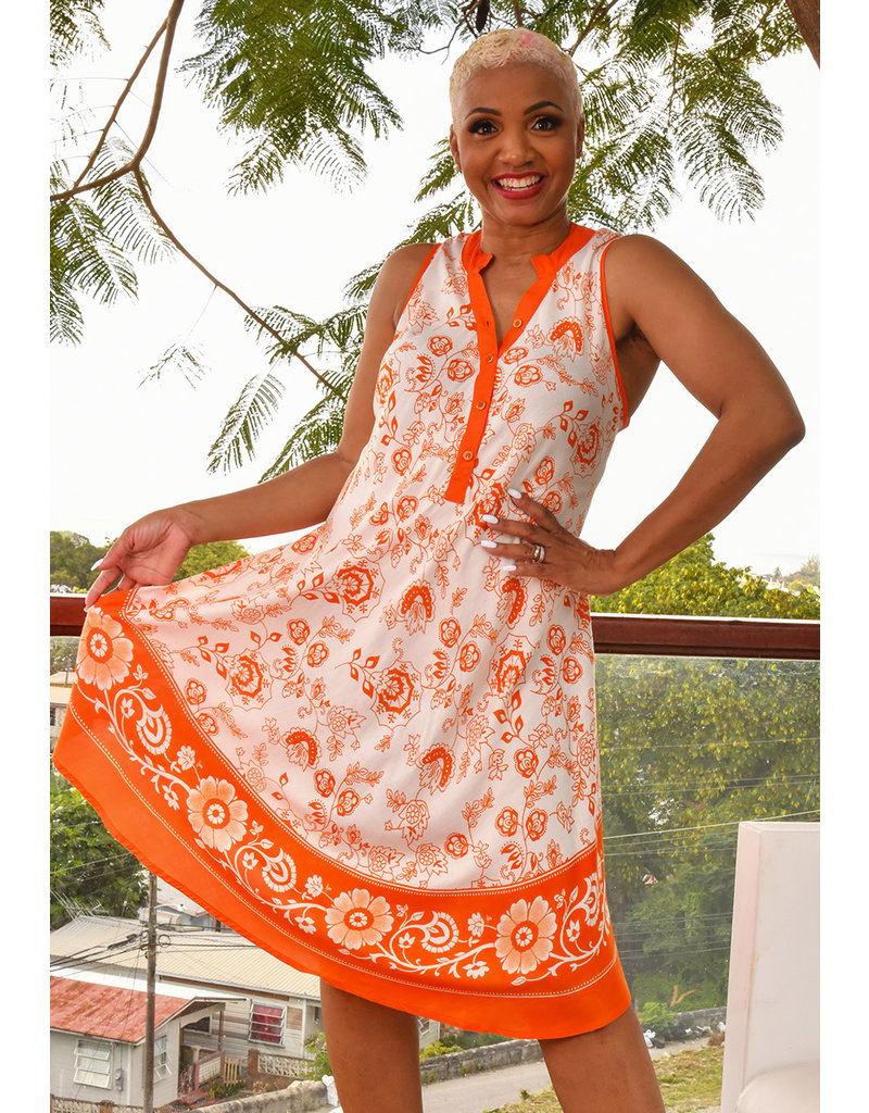 SEVEN ISLANDS KIREN- Printed Armhole Dress with Buttons