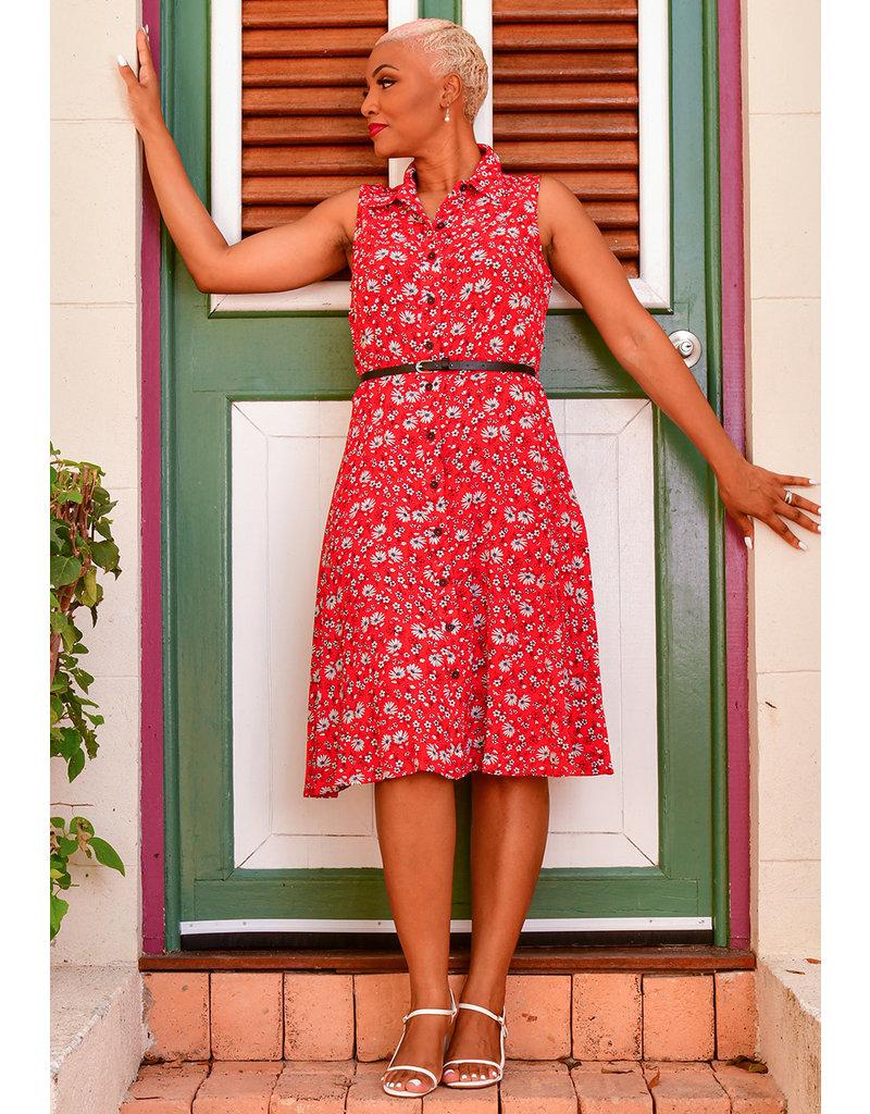 RILYNN- Floral Print Belted Shirt Dress