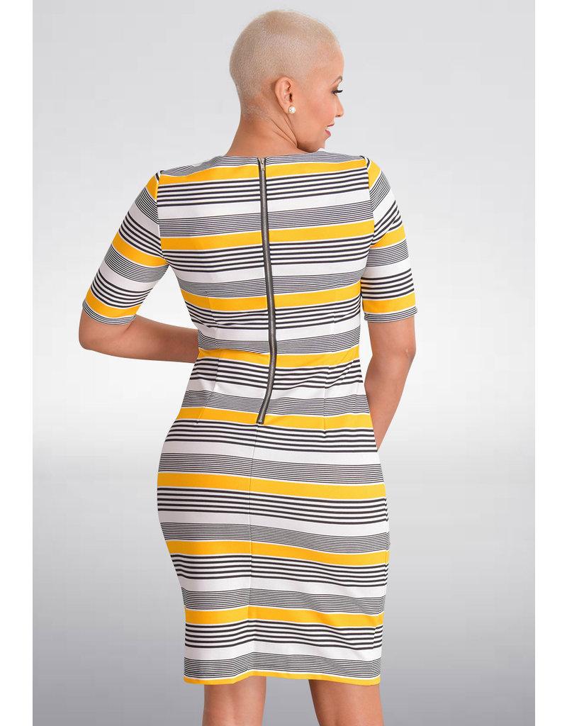RONJE- Small Striped Sheath Short Sleeve Dress