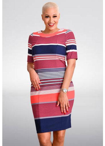 RONJE- Striped Sheath Short Sleeve Dress