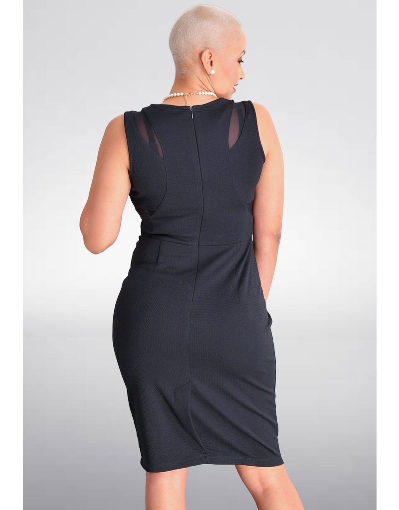 Shelby & Palmer BARROW-Solid Armhole Dress with Mesh Patches