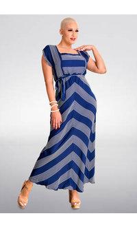 KIRANDA- Long Striped Square Neck Dress