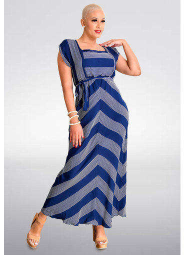 KIRANDA- Long Striped Square Neck Dress