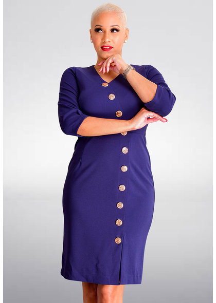 Shelby & Palmer RAJEAN-3/4 Sleeve Dress with Buttons
