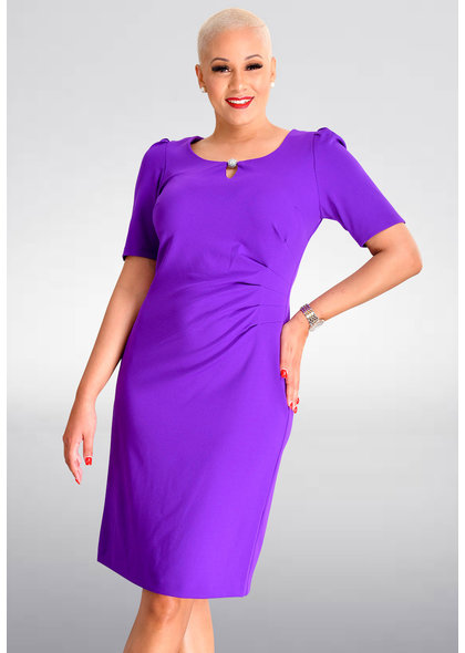 Shelby & Palmer RENIX- Short Sleeve Dress with Ruching