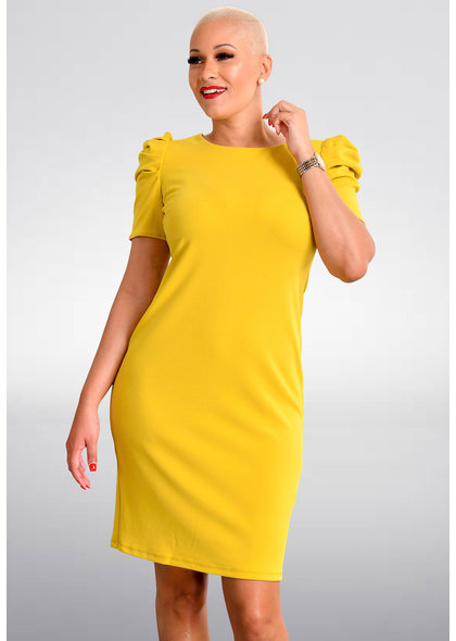 Shelby & Palmer RESHENA- Round Neck Dress with Gather Sleeves