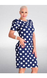 Shelby & Palmer RESHENA- Polka Dot Dress with Gather Sleeves