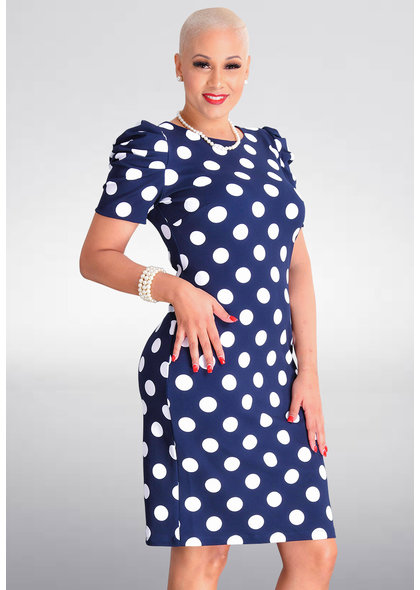 Shelby & Palmer RESHENA- Polka Dot Dress with Gather Sleeves
